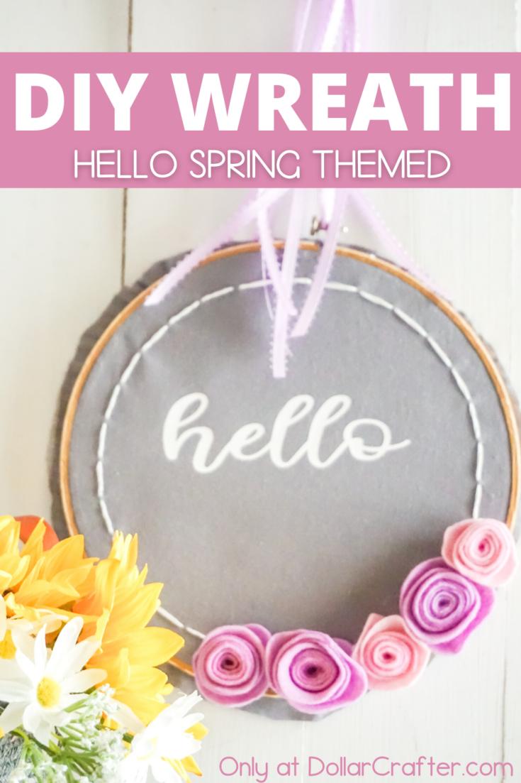 Hello Embroidery Hoop Wreath