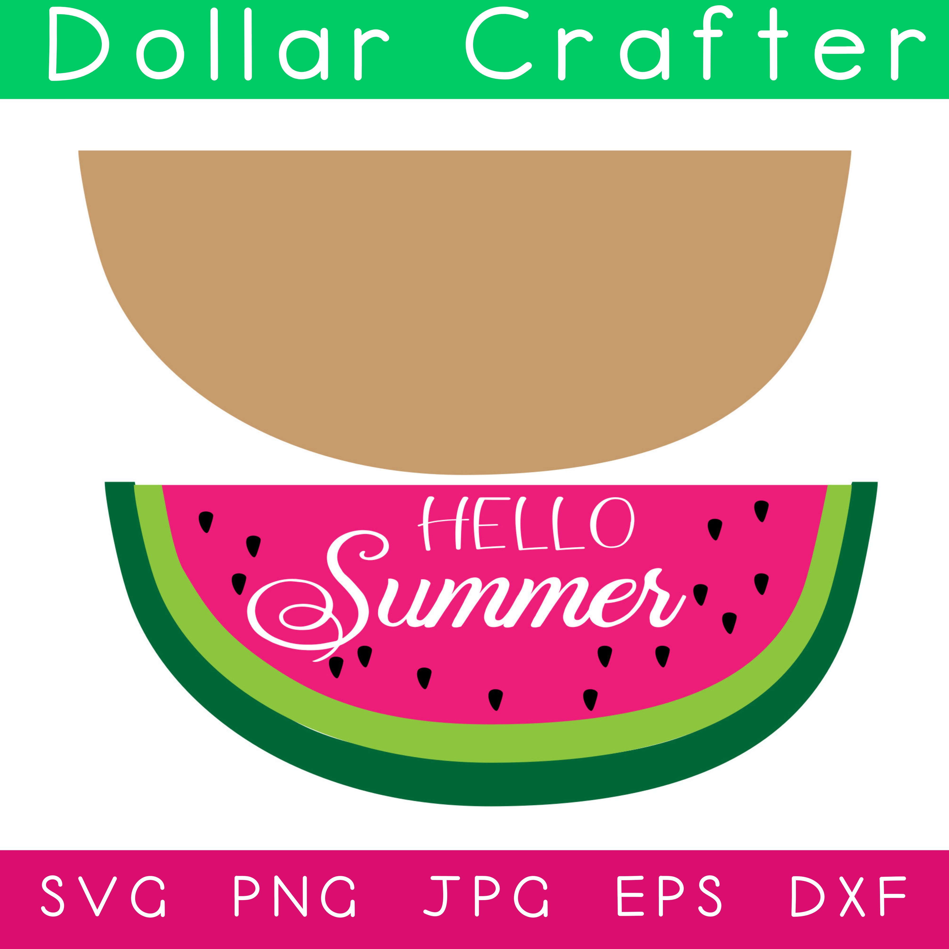 Hello Summer Watermelon SVG Cut File Set for Cricut or Silhouette