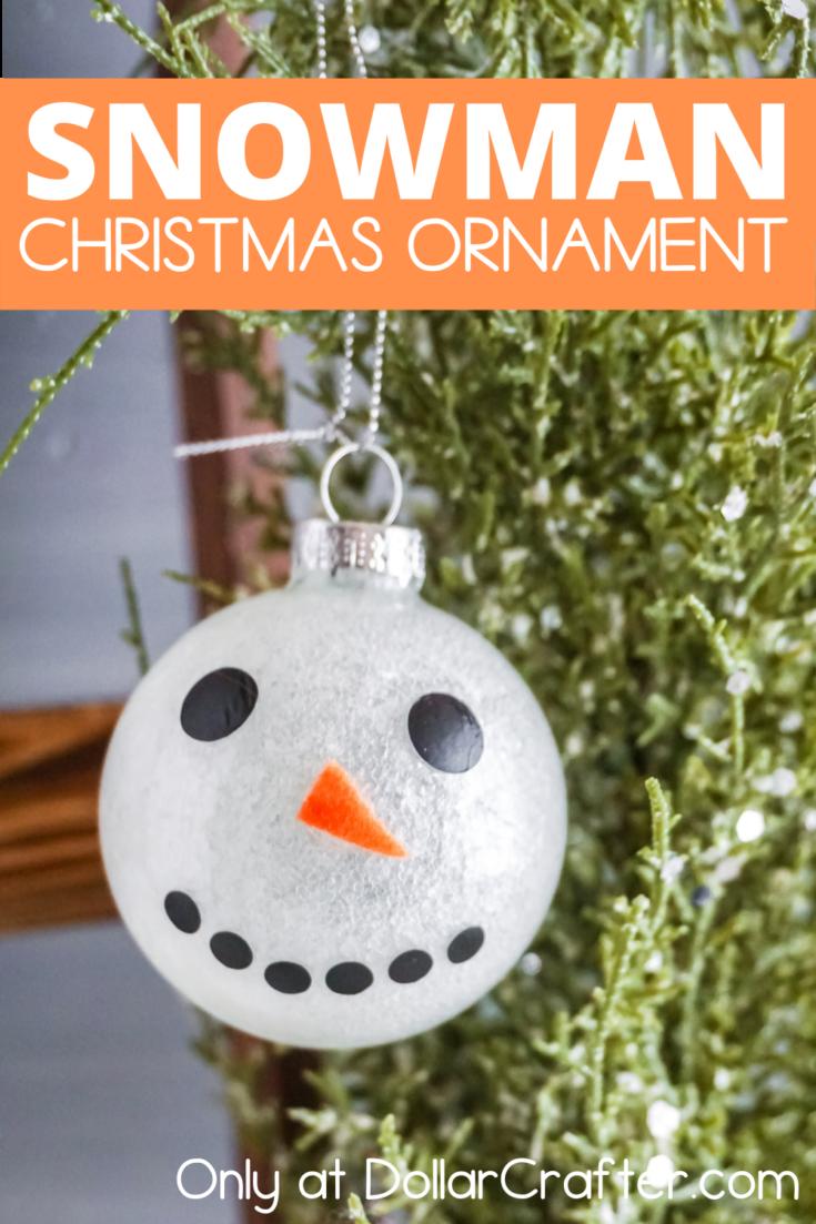 Snowman Face Glitter Filled Ornament