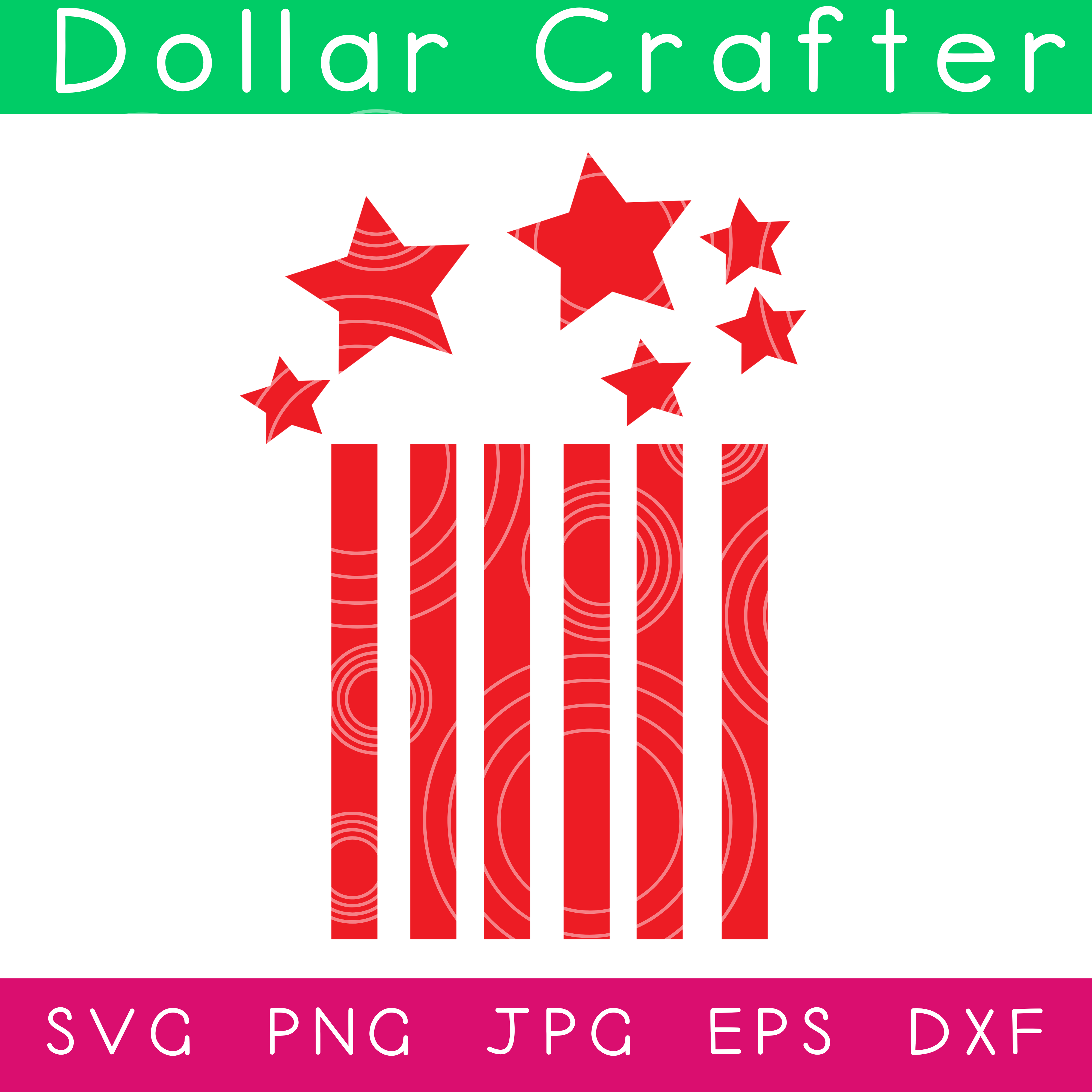 Stars and Stripes Firecracker SVG Cut File Set for Cricut or Silhouette