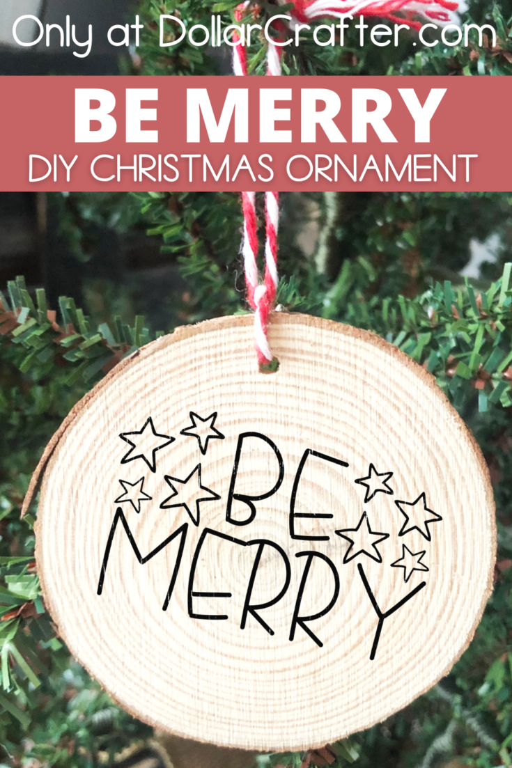 Be Merry Wooden Christmas Ornament