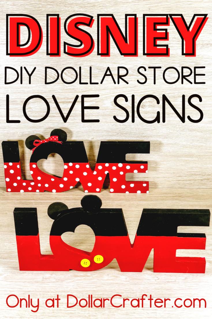 Dollar Store Disney Love Signs