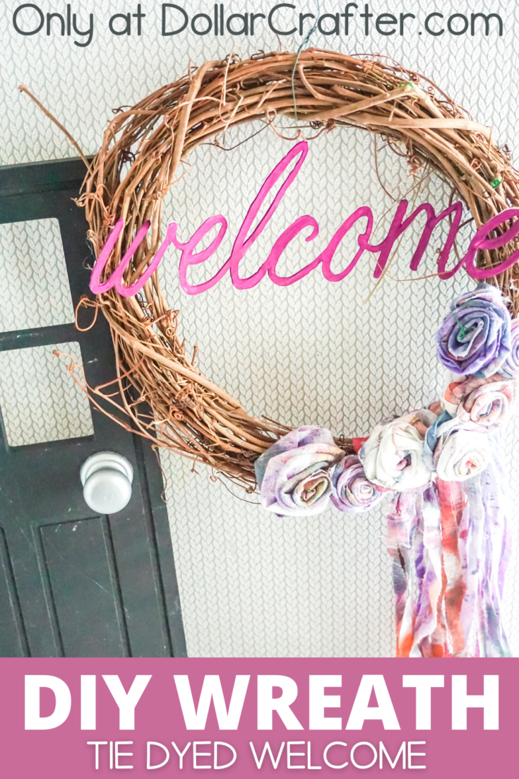 Tie Dyed Welcome Grapevine Wreath