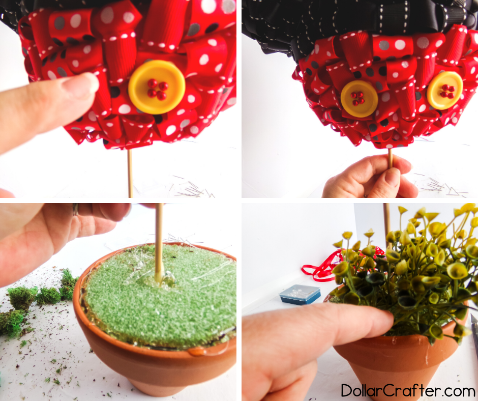 how to make a topiary with ribbon