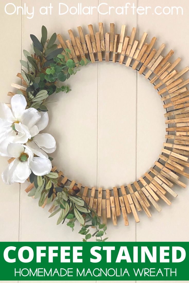 Coffee Stained Clothespin Wreath