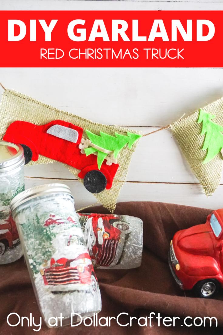 Red Christmas Truck Garland Banner