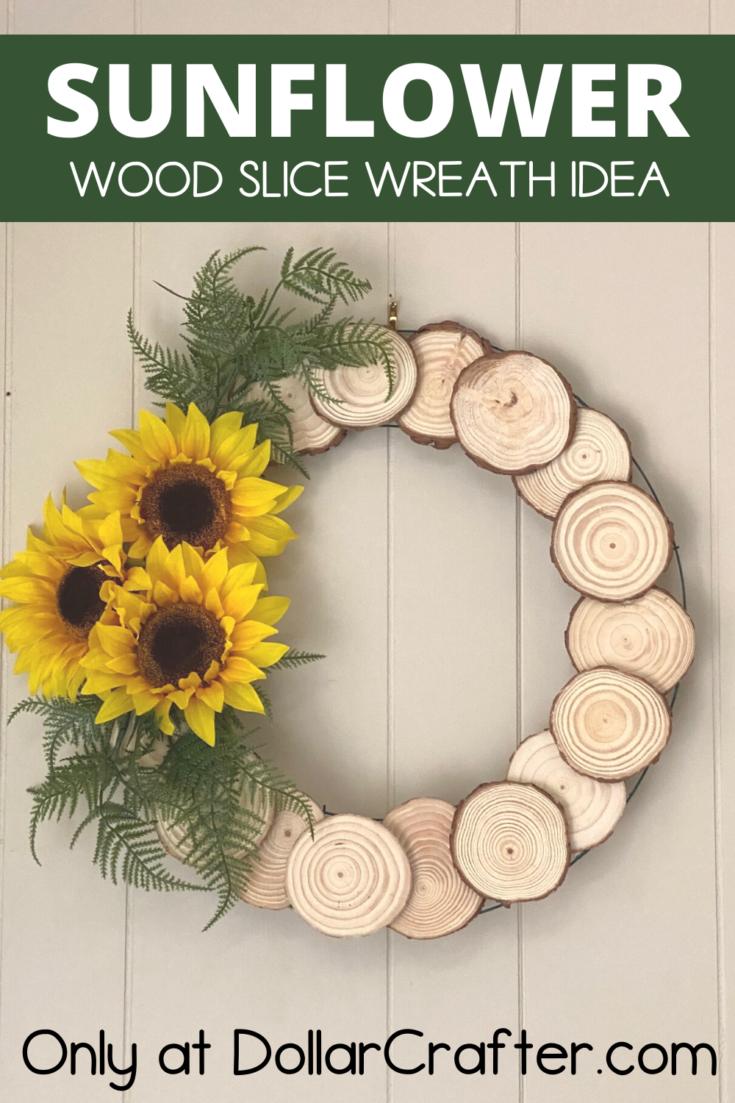 Sunflower Wood Slice Wreath
