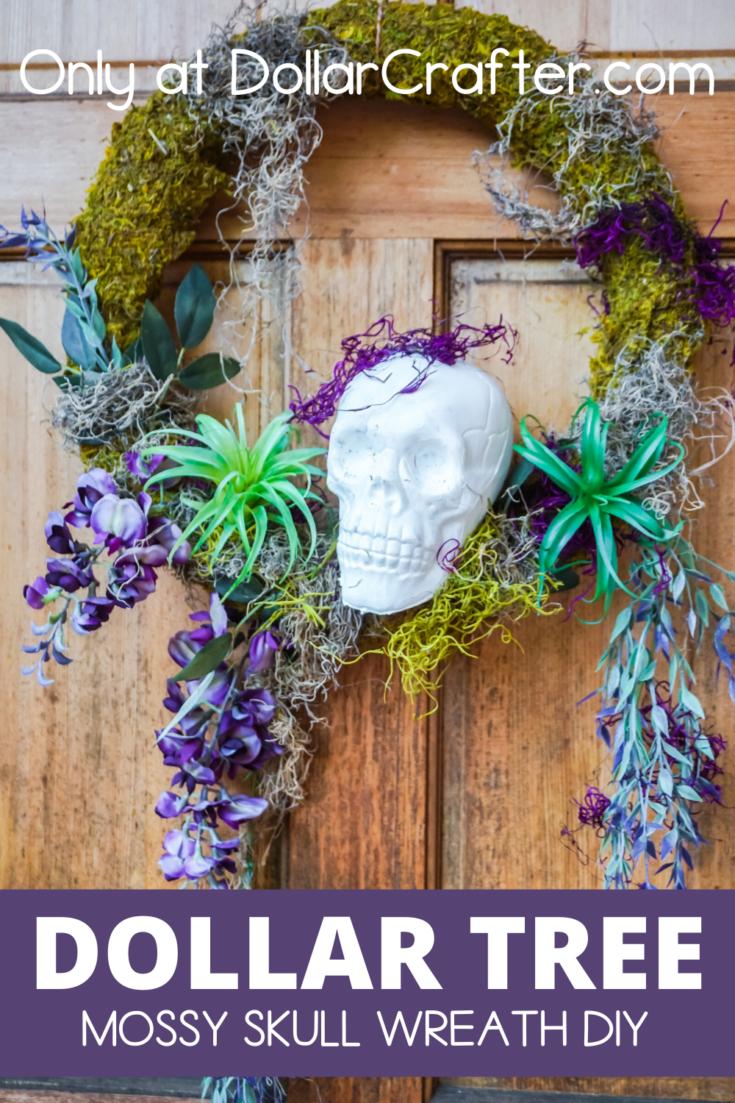 Halloween Mossy Skull Wreath